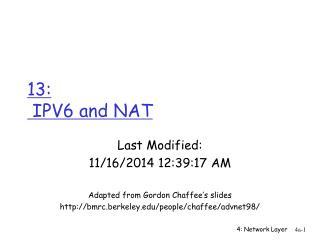 13:   IPV6 and NAT