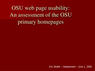 OSU web page usability:  An assessment of the OSU primary homepages