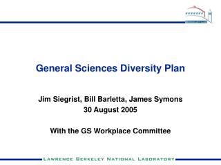 General Sciences Diversity Plan