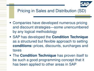 Pricing in Sales and Distribution (SD)