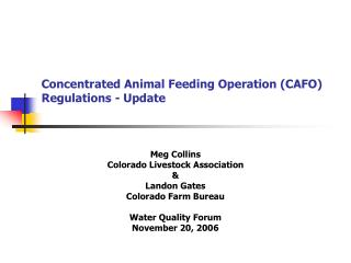 Concentrated Animal Feeding Operation (CAFO) Regulations - Update