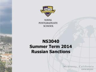 NS3040  Summer Term 2014 Russian Sanctions