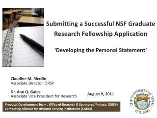 Proposal Development Team , Office  of Research & Sponsored  Projects (ORSP)