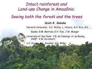 Intact rainforest and  Land-use Change in Amazônia: