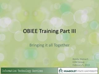 OBIEE Training Part III