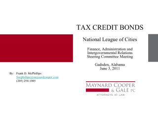 TAX CREDIT BONDS  National League of Cities  Finance, Administration and Intergovernmental Relations Steering Committee
