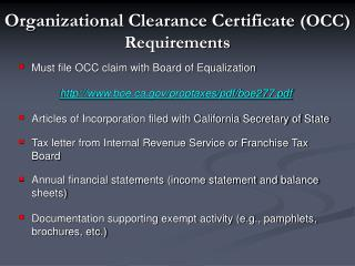 Organizational Clearance Certificate  (OCC) Requirements
