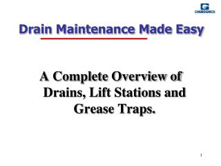 Drain Maintenance Made Easy