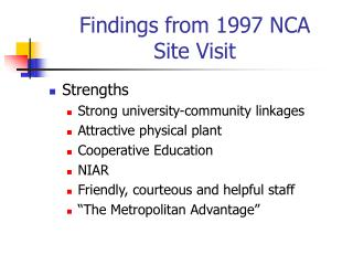 Findings from 1997 NCA  Site Visit