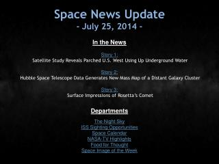 Space News Update - July 25, 2014 -