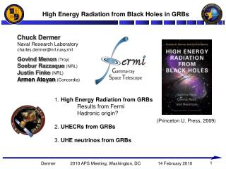 High Energy Radiation from Black Holes in GRBs