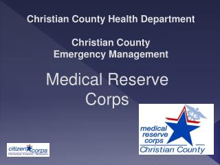 Christian County Health Department Christian County  Emergency Management