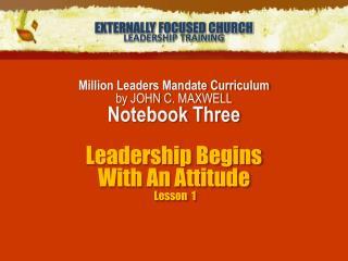 EXTERNALLY FOCUSED CHURCH LEADERSHIP TRAINING