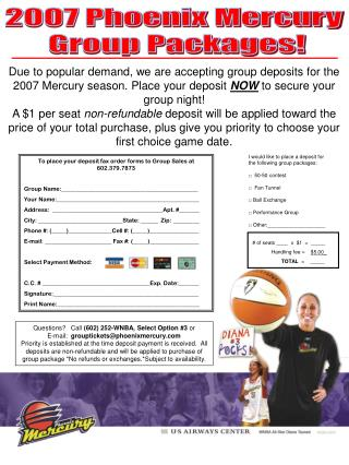 2007 Phoenix Mercury  Group Packages!