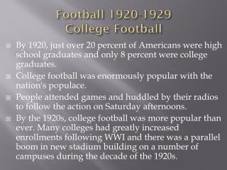 Football 1920-1929 College Football