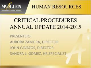 CRITICAL PROCEDURES  ANNUAL UPDATE 2014-2015