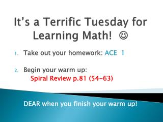 It's a Terrific Tuesday for Learning Math!   