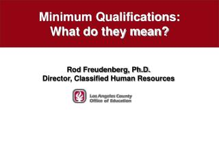 Minimum Qualifications: What do they mean?