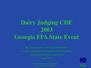 Dairy Judging CDE 2003 Georgia FFA State Event