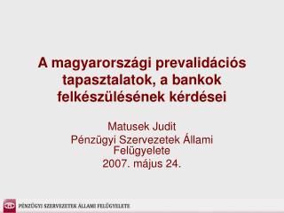 A magyarországi prevalidációs tapasztalatok, a bankok felkészülésének kérdései