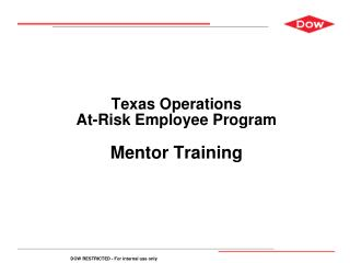 Texas Operations At-Risk Employee Program Mentor Training