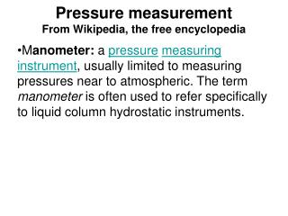 Pressure measurement From Wikipedia, the free encyclopedia