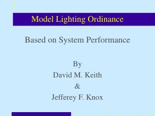 Model Lighting Ordinance