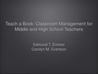 Teach a Book: Classroom Management for Middle and High School Teachers