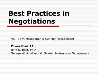 Best Practices in Negotiations