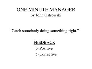 ONE MINUTE MANAGER by John Ostrowski