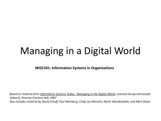 Managing in a Digital World