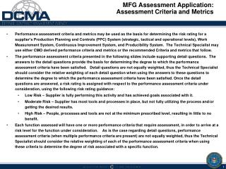 MFG Assessment  Application:  Assessment Criteria and Metrics