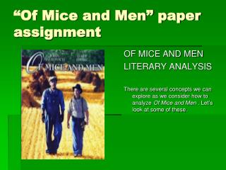 """Of Mice and Men"" paper assignment"