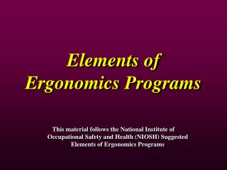 Elements of Ergonomics Programs