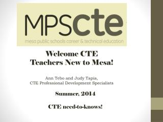 Welcome CTE Teachers New to Mesa!