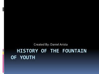 History of the fountain of youth