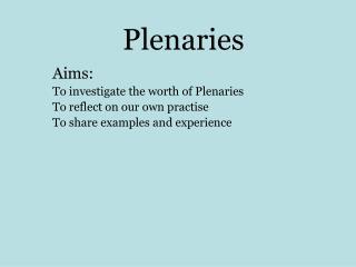 Plenaries