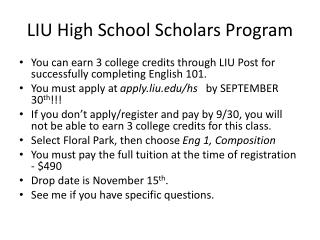 LIU High School Scholars Program