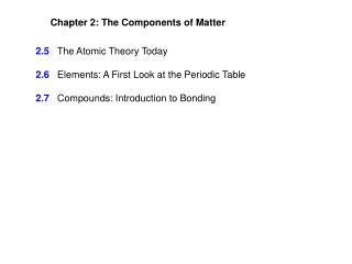 Chapter 2: The Components of Matter