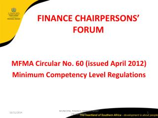 FINANCE CHAIRPERSONS' FORUM