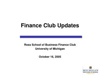 Finance Club Updates