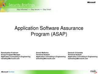 Application Software Assurance Program (ASAP)
