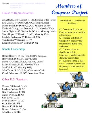 Web sites:   vote-smart/congressional_leadership.php senate