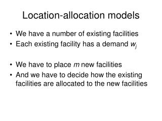 Location-allocation models