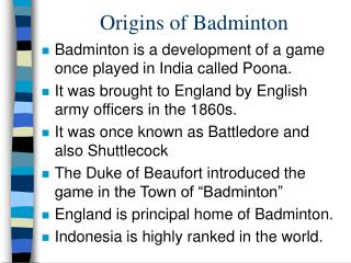 Origins of Badminton