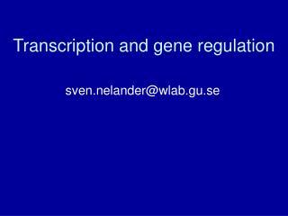 Transcription and gene regulation