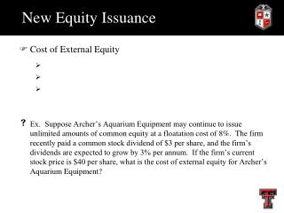 New Equity Issuance