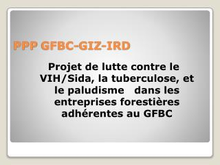 PPP GFBC-GIZ-IRD