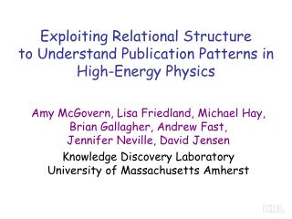 Exploiting Relational Structure  to Understand Publication Patterns in High-Energy Physics