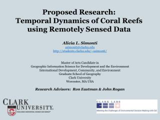 Proposed Research: Temporal Dynamics of Coral Reefs using Remotely Sensed Data